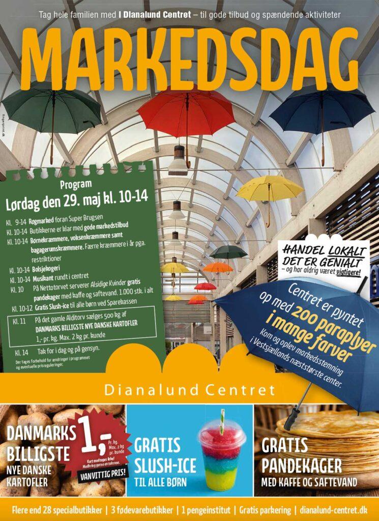 Markedsdag i Dianalund Centret 2021 med Danamrks Billigste kartofler til kun 1 kr pr kg
